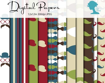 Hipster Moustache/Mustache Digital Scrapbooking Paper Pack, Buy 2 Get 1 FREE. Instant Download