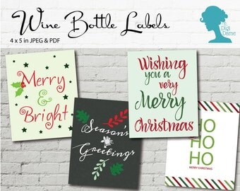 Wine Bottle Label Printable: Set of Four Christmas Labels Buy 2 Get 1 FREE INSTANT DOWNLOAD