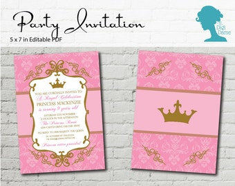 Digital Party Printable: Editable Party Invitation 5x7in Pink & Gold Princess Crown Party  INSTANT DOWNLOAD