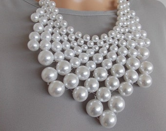 Chunky Pearl Beaded Bib Style Statement Necklace