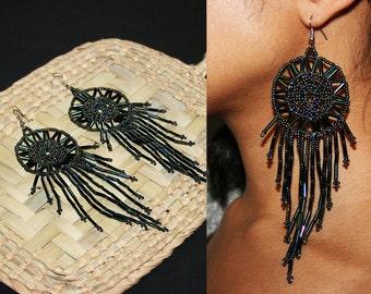 Beaded Dream Catcher Earrings, Huichol Earrings, Dangling Gypsy Earrings, Native American Dream Catcher Earrings, Seed Bead Earrings
