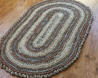 "Rag Rug, Brown and Rust 37"" x 61"" Crocheted Oval Rag Rug, Nursery Rug, Cottage Chic Decor, Shabby Chic, Crochet Rag Rug"