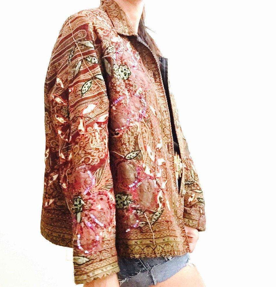 Vintage indian jacket unisex ethnic kantha