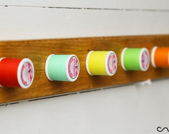 Handmade Solid Wood Bright Colour Thread-Reel Peg Wall Mounted Coat Rack 5 Hooks