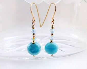 Turquoise Earrings, Turquoise earrings gold, Turquoise earrings dangle, Dangle Earrings, Earrings dangle, Earrings gold, Turquoise jewelry