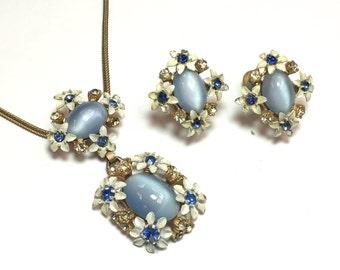 50s Blue Flowers Pendant Necklace  Earrings Jewelry Set