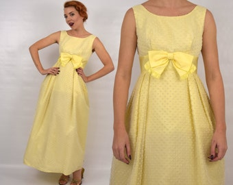 Vintage 60s Yellow Prom Dress   Swiss Dot Bridesmaid Dress, Small