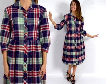 50s Blue Plaid Shirtdress | Red Blue Cotton Plaid Day Dress | Large
