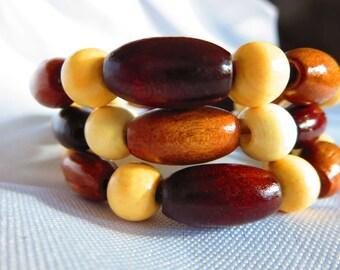 Multicolored wood bead memory wire bracelet