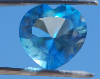 Faceted Swiss Blue Topaz Heart, 14mm x 14mm, Excellent Cut and Polish, 9.8 ct.
