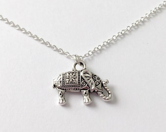 Silver Elephant Necklace/Antique Silver Elephant Necklace/Elephant Necklace