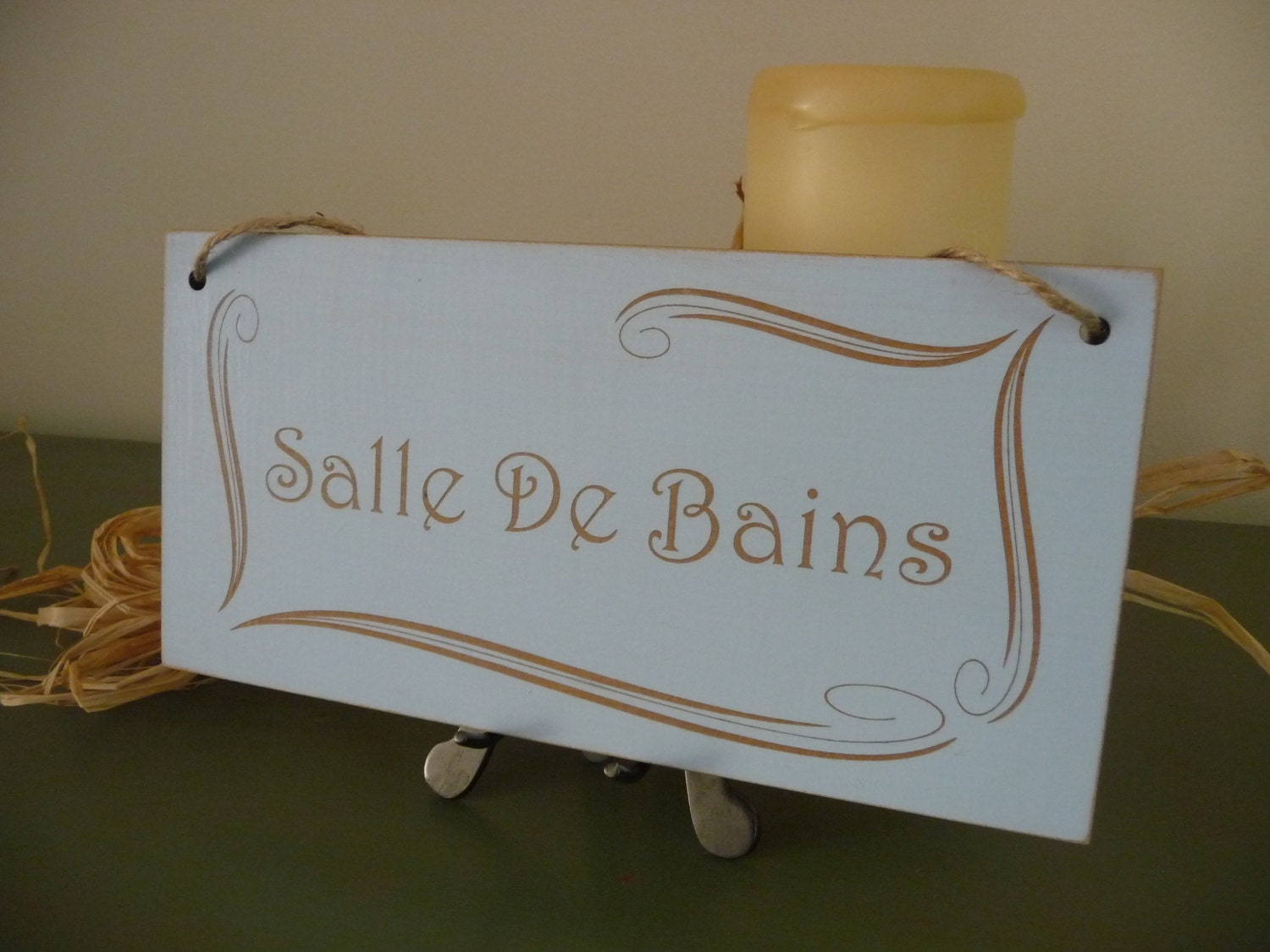 Distressed French Bathroom Sign Salle De Bains Bathroom Sign