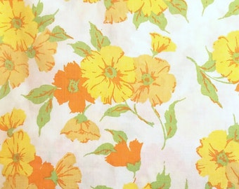 Vintage Floral Queen Flat Sheet Fabric Yellow Orange White Nasturtuims  Penneys 1960's 1970's material bedding linens midcentury modern