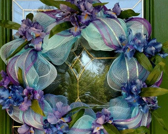 Blue and purple deco mesh with Irises