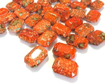 Freckled ORANGE Beads - Octogon 24x16mm Large faceted acrylic nugget beads for bangle or jewelry making