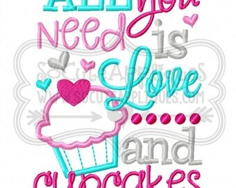 Valentines day Embroidery, All you need is love... and cupcakes 5x7 6x10, cupcake embroidery design, socuteappliques, cupcake applique