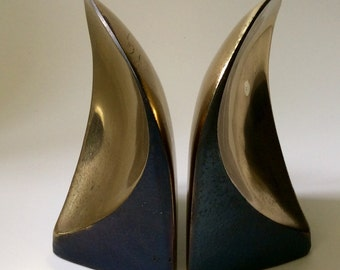 "Ben Seibel MidCentury Brass ""Scoop"" Bookends"