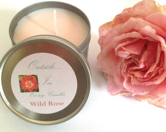 Rose candle, wild rose candle, eco soy wax rose candle, English rose gift, summer candle, home decor, gift for friends