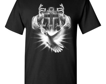 Only GOD Can Judge Me Jesus Hands Religious Christian Faith Men's Tee Shirt 1392