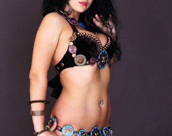Tribal Fusion Dark Fusion Ethnic Tribal Belly Dance Belt+Bra+2 Necklaces in set ALL SIZES