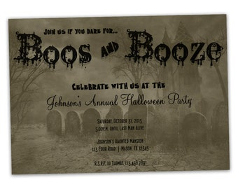 Adult Halloween Invitation - Graveyard Haunted House Party Invitations - Boos and Booze - Adult Halloween Party Invitations - Scary - ghost