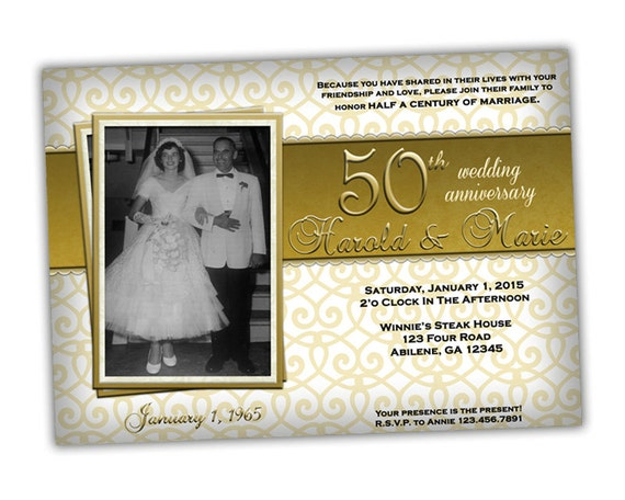 50th Wedding Anniversary Invitation Ideas: Golden 50th Wedding Anniversary Party Invitations Photo 50th