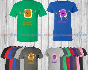 Peanut Butter & Jelly - Matching Couple Shirts - His and Her T-Shirts - Love Tees