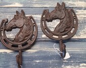 Vintage Reproductions, Set of 2 Cast Iron Horse, Horseshoe Hooks, Excellent Condition! Rustic Hand painted, Ranch, Country, Western Decor!