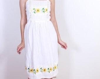 1960s Sun Flower Cotton Summer Dress