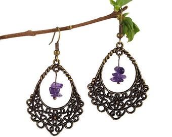 Bronze flower earrings, amethyst jewelry, bronze long earrings, rustic teardrop earrings, rustic chic jewelry, filigree flower jewelry, fael