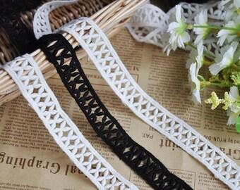 3 yards Black Ivory Cotton Lace Trim Floral Exquisite Wedding Trim 0.7 inches width