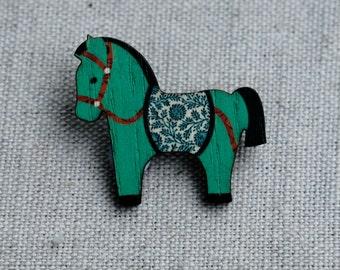 Wooden Horse Brooch