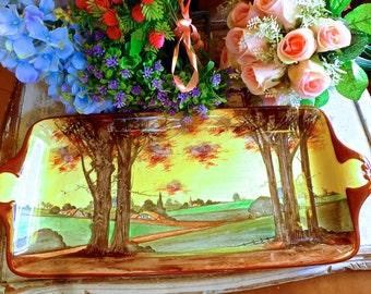 Royal Doulton Woodland scean tray / Royal Doulton sandwich tray / British porcelain / Woodland sandwich tray