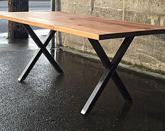 Reclaimed Wood Dining Table with X Legs