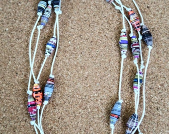 Necklace with beads from recycled paper from magazines