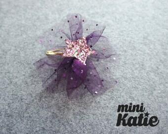 mini Katie - Glitter Star Mesh Hair Barrette, Hair bow clip for baby girls, Toddlers, kids