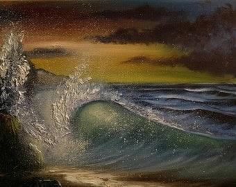 Twilight Spritzer - 20x16 Oil on Canvas Original Painting, Beach art, Wave art, Seascape, Sunset Art, Ocean Art, Wave Pictures