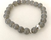 Grey and silver stretch bracelet