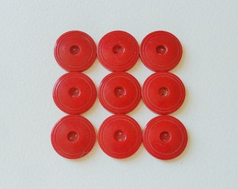 Nine Vintage Red Buttons Large Set 1 1/9 inch Diameter Coat Jacket Dress Plastic 1950s 1940s