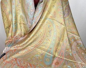 SHAWL stole gold orange PASHMINA scarf silk ps177