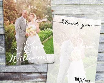 Wedding Thank You Card, Printable Thank You Card, Photo Thank You Card, Wedding Thank You Note, Printable Custom Thank You Note Card