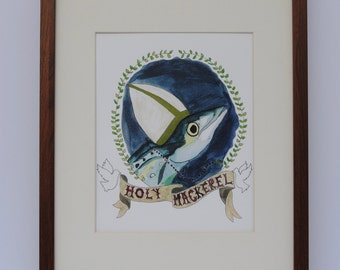Original Watercolour Mackerel Print *FREE SHIPPING in North America*