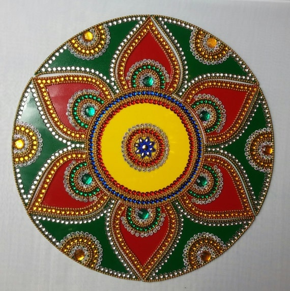 Home Decor Ideas For Navratri: Diwali Decoration Rangoli Navratri Thali Decor Mandala Kolam
