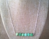 Green Peruvian Opal on Sterling Chain
