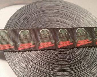 Horror ribbon, Classic Horror Movie Monster Grosgrain ribbon, Creature from the black lagoon