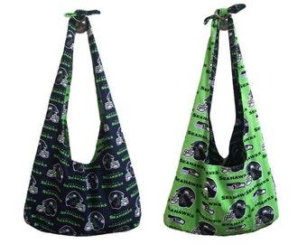 Seattle Seahawks Print Cross Body/Hobo/Sling Bag - Reversable