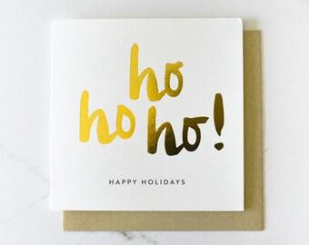 Christmas Card // Ho Ho Ho! Gold Foil Card TPRC106