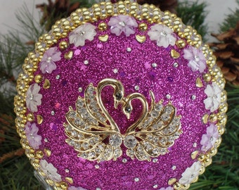Golden Swans on Purple Christmas Ornament