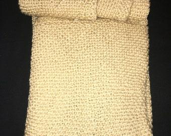 Tan/Light Brown Knit Baby Blanket