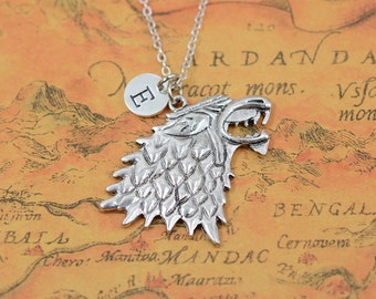Retro silver wolf head necklace,wolf charm necklace,animal necklace,personalized custom jewelry,Men's gift